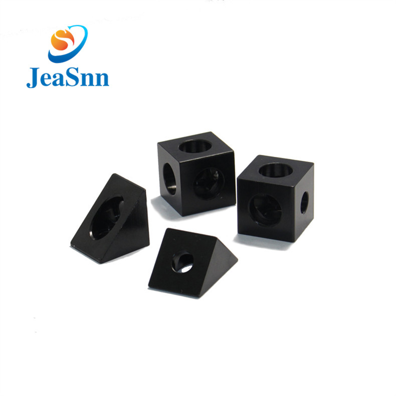 Black Anodized Aluminum CNC Spare Parts Corner Connector for 3d Printers