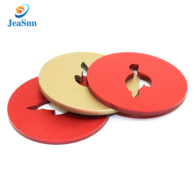 Custom logo flat anodized aluminum washer with anodizing gold red color