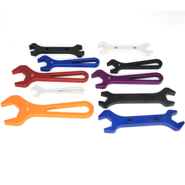 China manufacturer custom double open ended adjustable wrench AN3-AN20 spanner set hose fitting wrench aluminum AN wrench