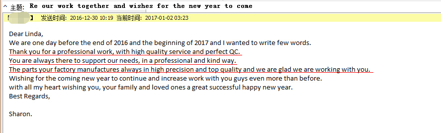 The Feedback From Sharon---cnc milling aluminum parts