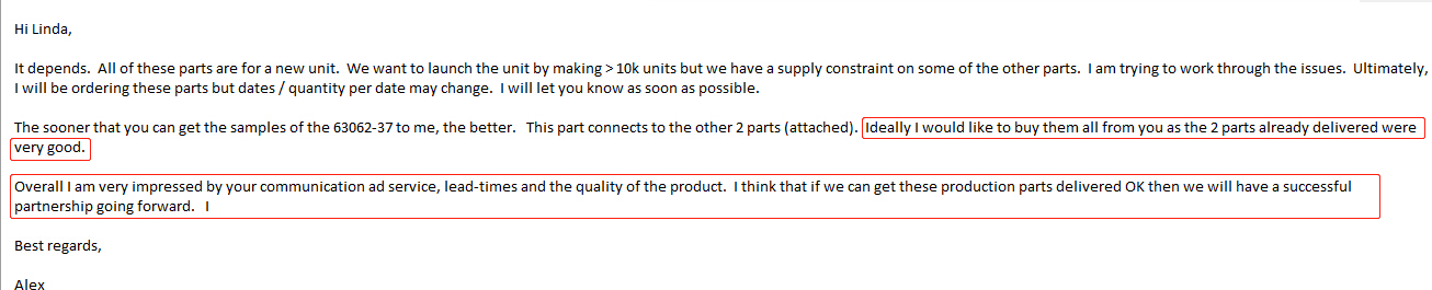 The Feedback From Alex--- anodized aluminum parts